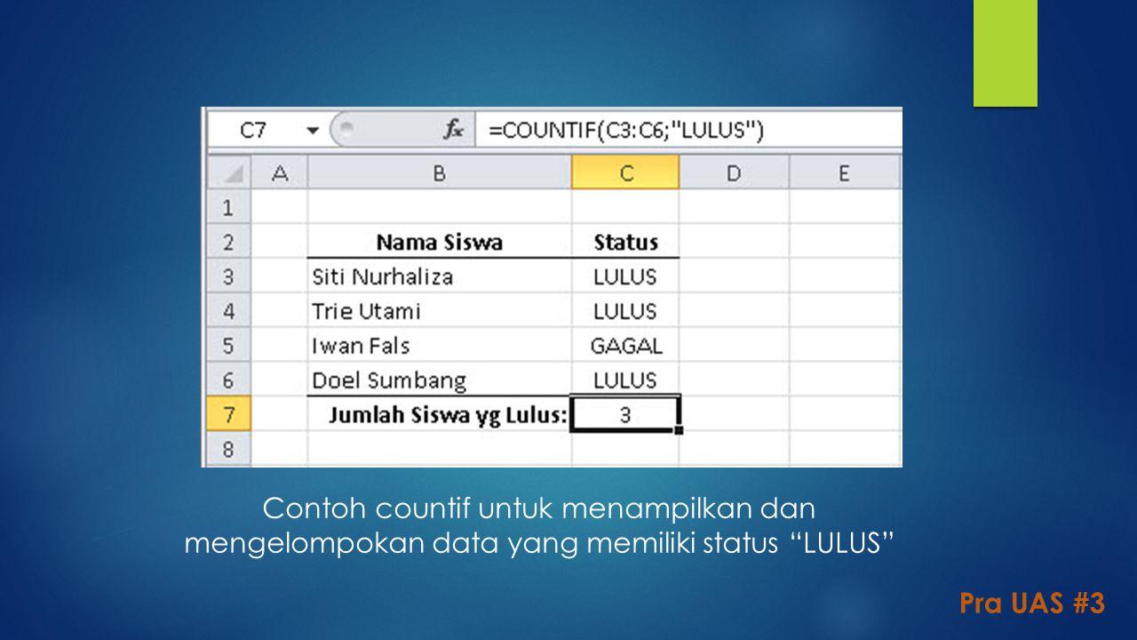 Contoh countif untuk menampilkan dan mengelompokan data yang memiliki status LULUS