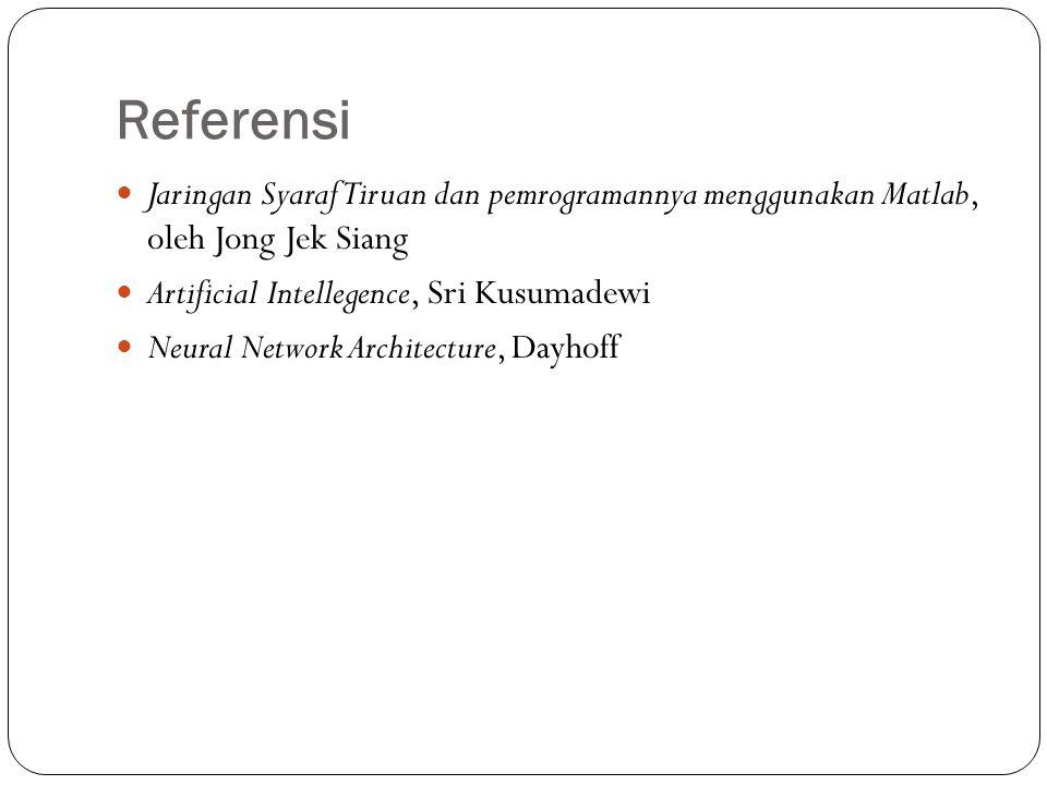 Referensi Jaringan Syaraf Tiruan dan pemrogramannya menggunakan Matlab, oleh Jong Jek Siang. Artificial Intellegence, Sri Kusumadewi.