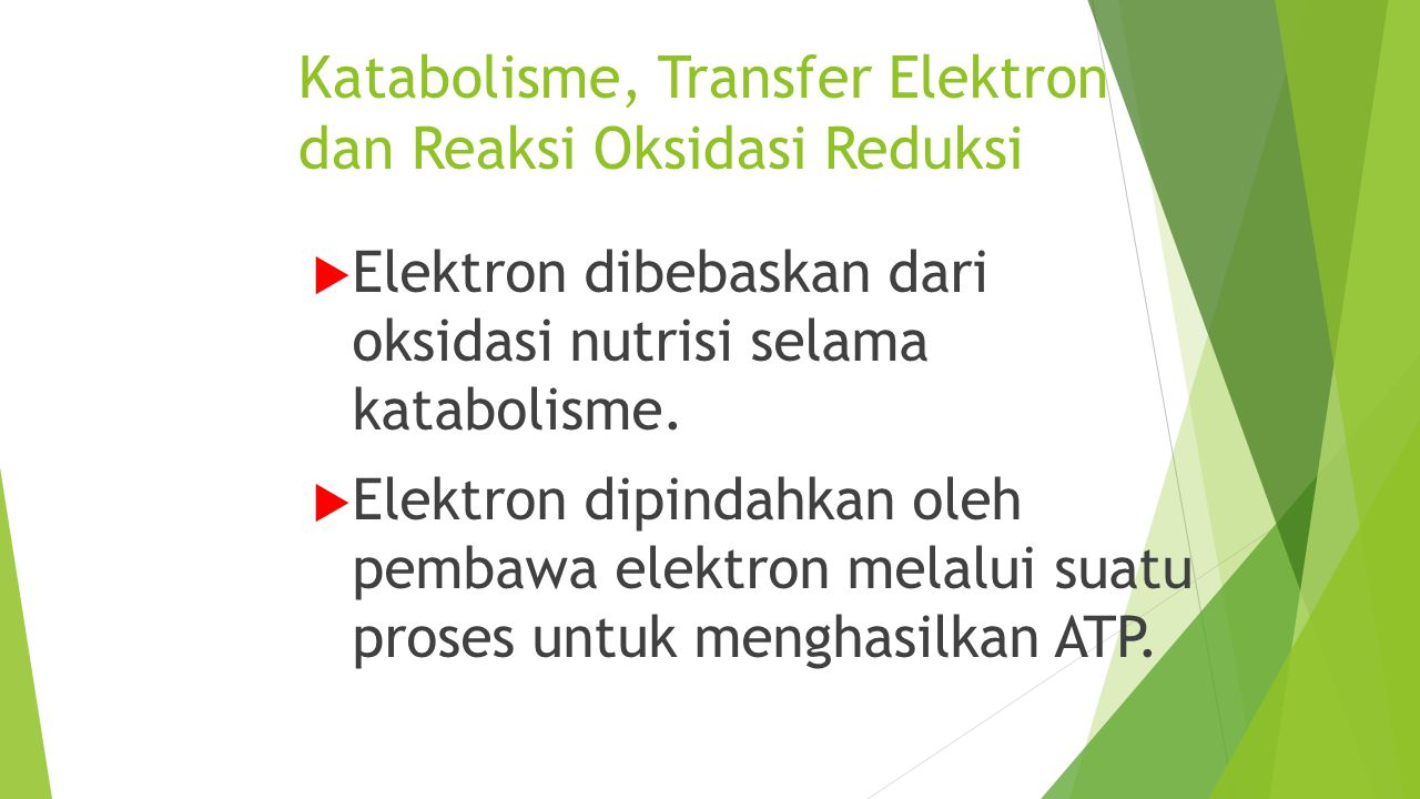Katabolisme, Transfer Elektron dan Reaksi Oksidasi Reduksi