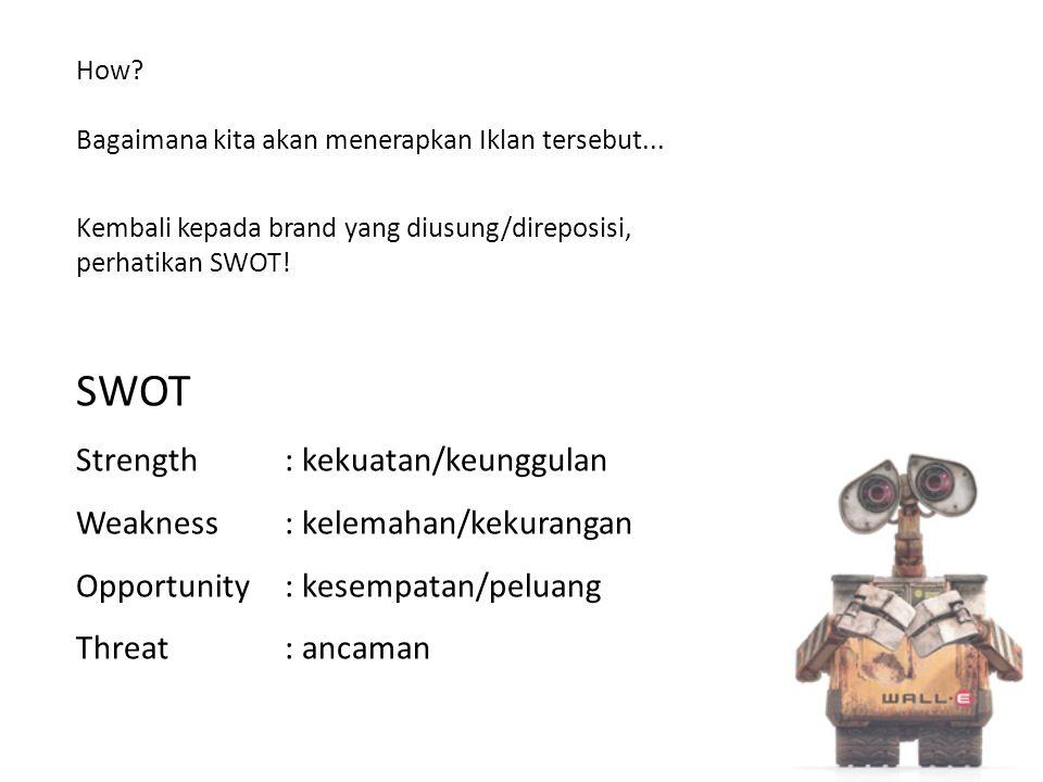 SWOT Strength : kekuatan/keunggulan Weakness : kelemahan/kekurangan