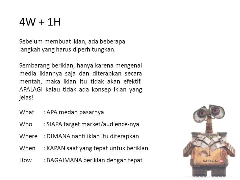 4W + 1H Sebelum membuat iklan, ada beberapa langkah yang harus diperhitungkan.