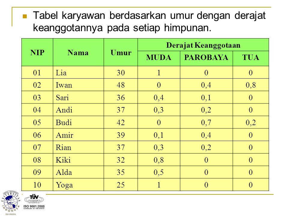 Tabel karyawan berdasarkan umur dengan derajat keanggotannya pada setiap himpunan.