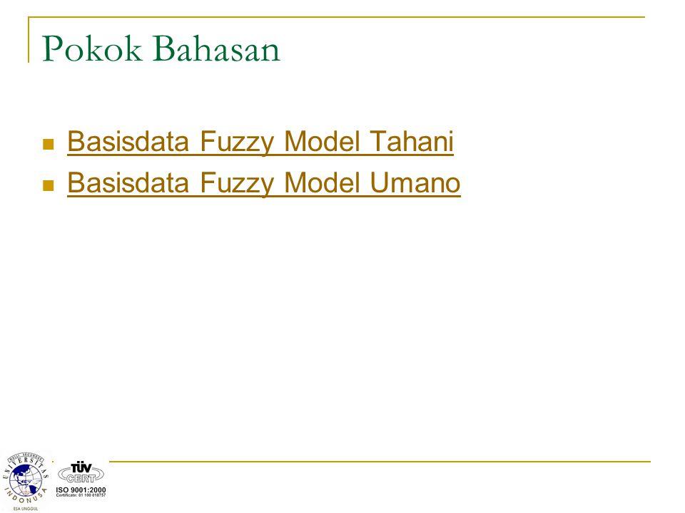 Pokok Bahasan Basisdata Fuzzy Model Tahani Basisdata Fuzzy Model Umano