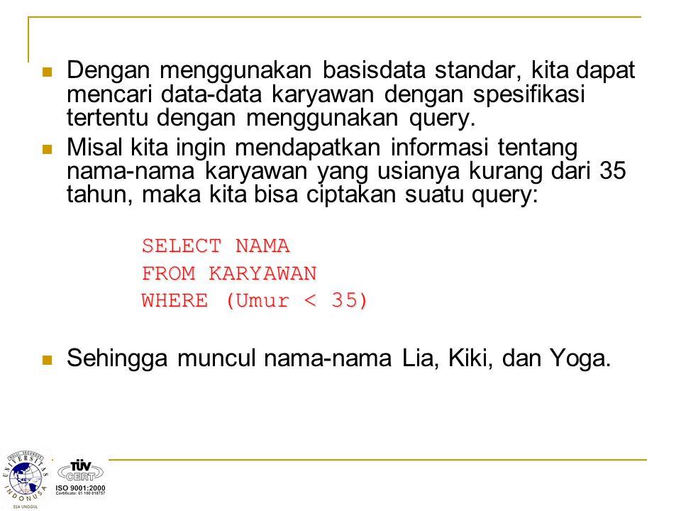 Sehingga muncul nama-nama Lia, Kiki, dan Yoga.