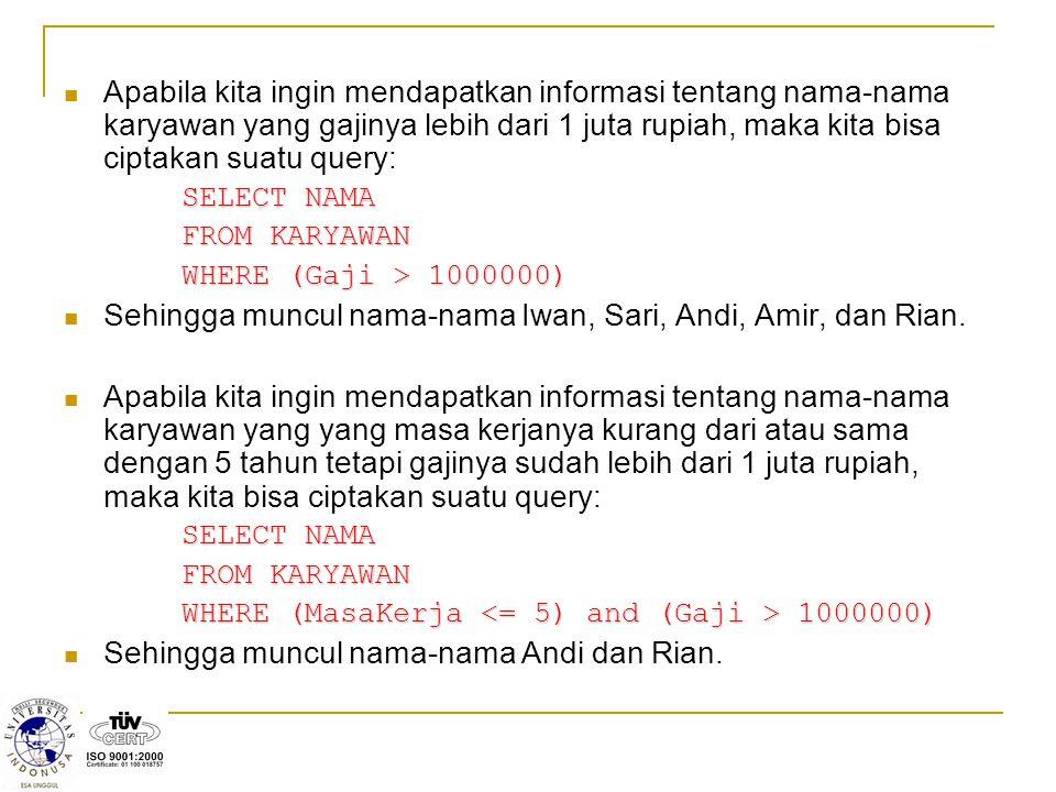 Sehingga muncul nama-nama Iwan, Sari, Andi, Amir, dan Rian.