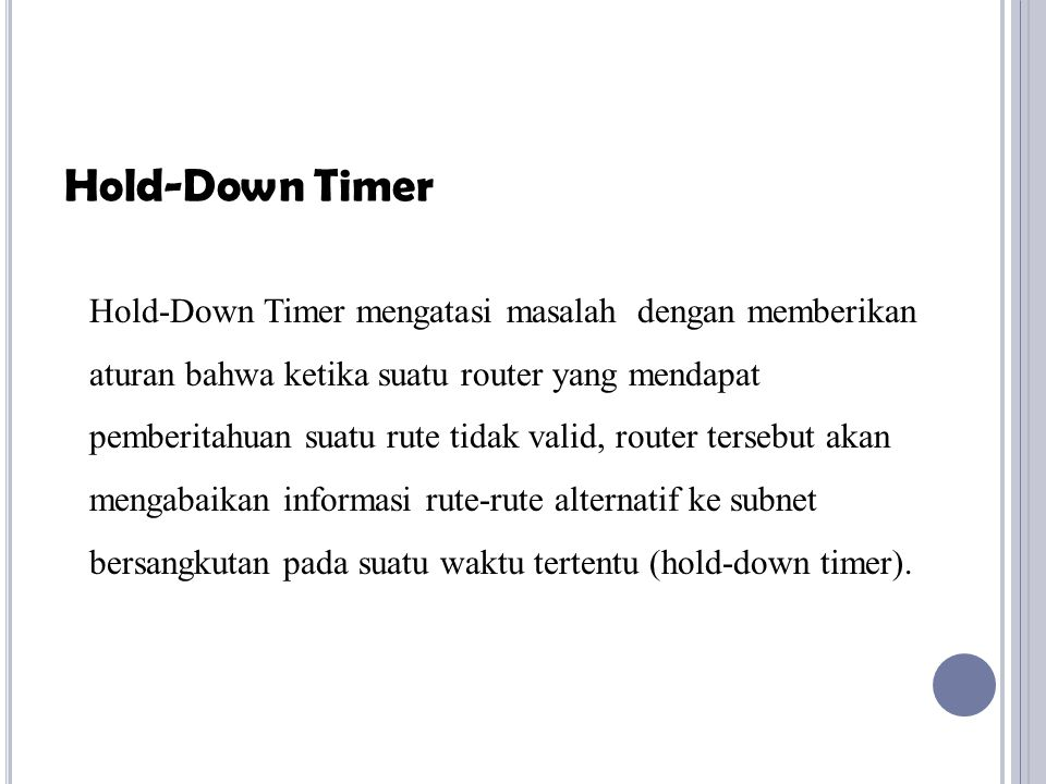 Hold-Down Timer