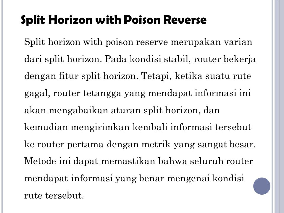 Split Horizon with Poison Reverse