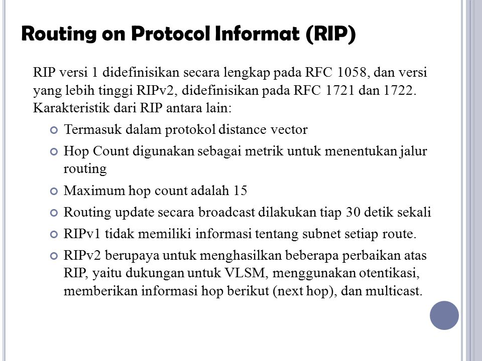 Routing on Protocol Informat (RIP)