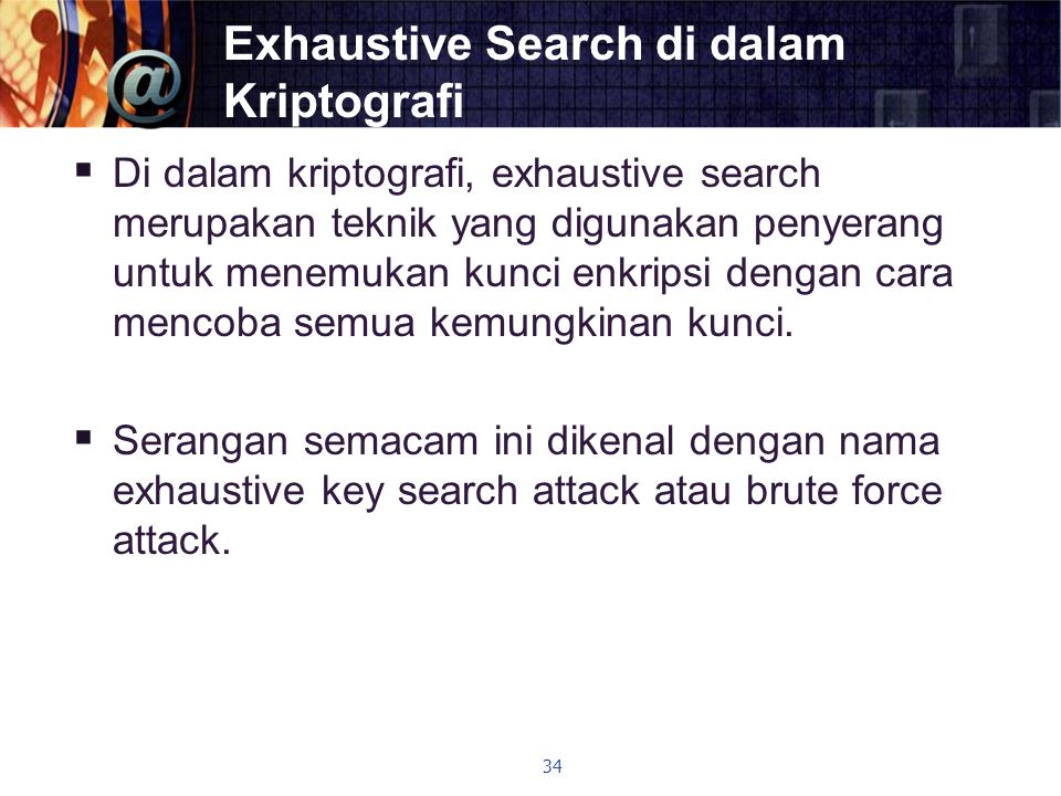 Exhaustive Search di dalam Kriptografi