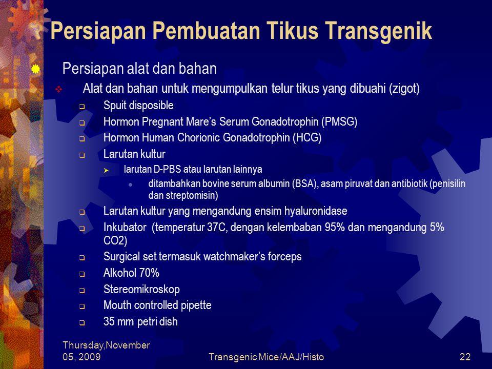 Persiapan Pembuatan Tikus Transgenik