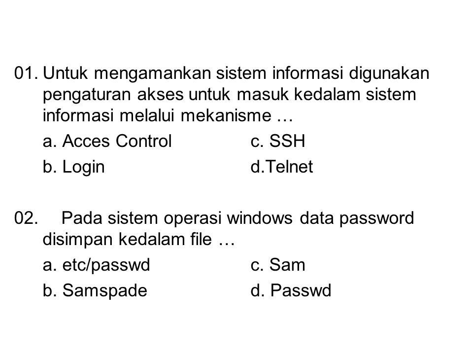 01. Untuk mengamankan sistem informasi digunakan pengaturan akses untuk masuk kedalam sistem informasi melalui mekanisme …