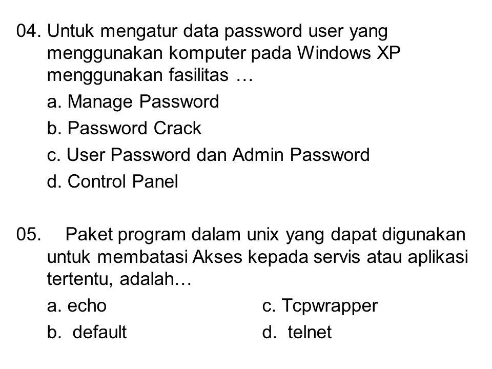 04. Untuk mengatur data password user yang menggunakan komputer pada Windows XP menggunakan fasilitas …
