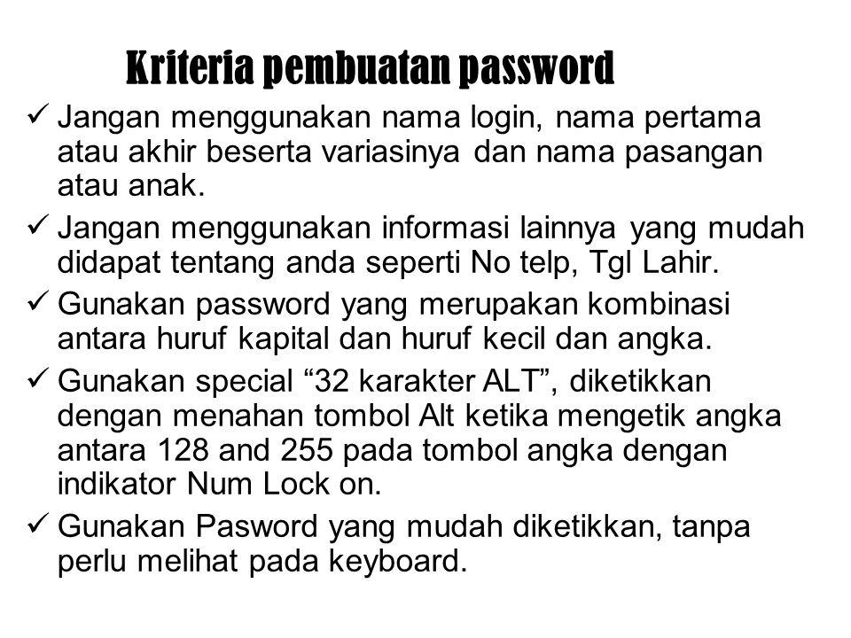 Kriteria pembuatan password