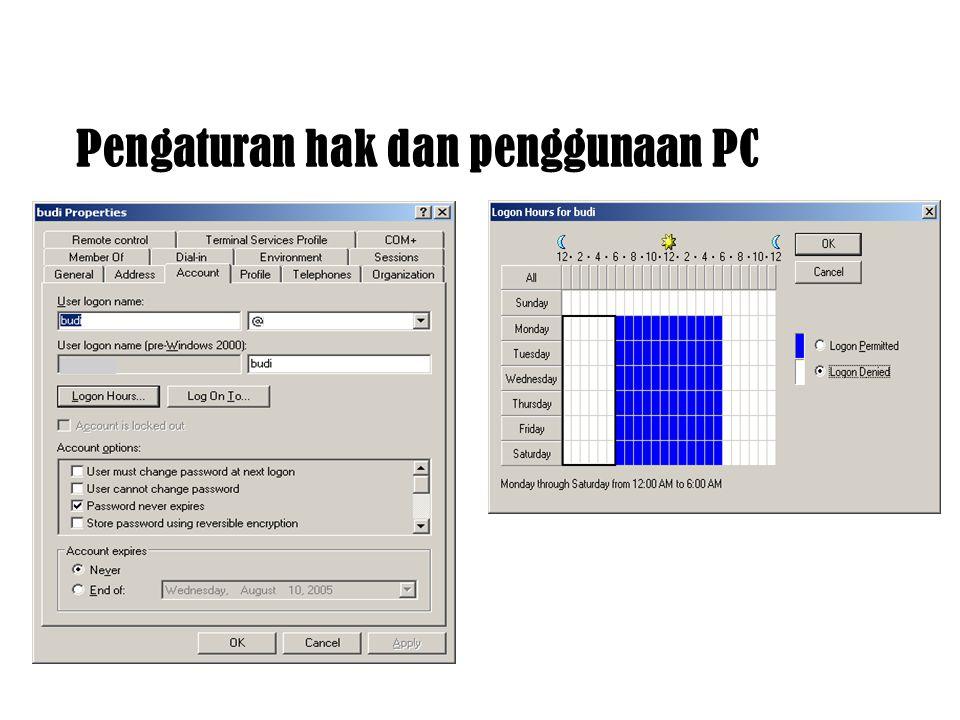 Pengaturan hak dan penggunaan PC