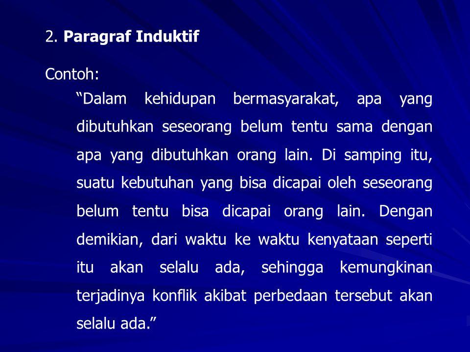2. Paragraf Induktif Contoh: