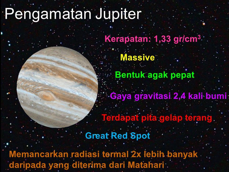 Pengamatan Jupiter Kerapatan: 1,33 gr/cm3 Massive Bentuk agak pepat