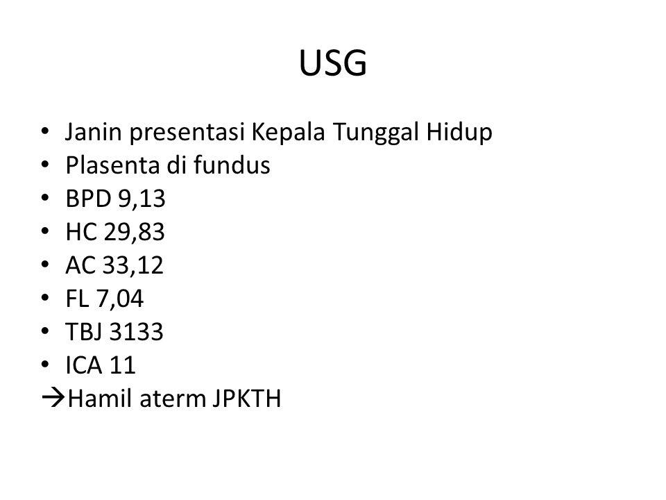 USG Janin presentasi Kepala Tunggal Hidup Plasenta di fundus BPD 9,13