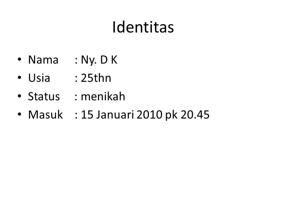 Identitas Nama : Ny. D K Usia : 25thn Status : menikah