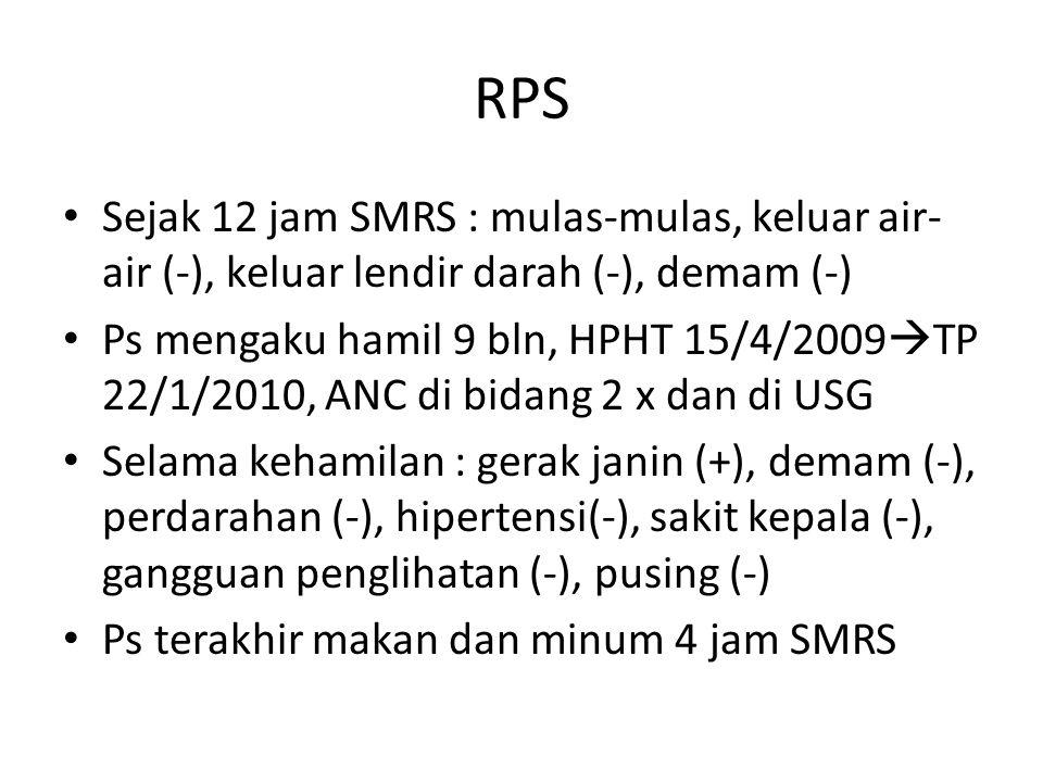 RPS Sejak 12 jam SMRS : mulas-mulas, keluar air-air (-), keluar lendir darah (-), demam (-)