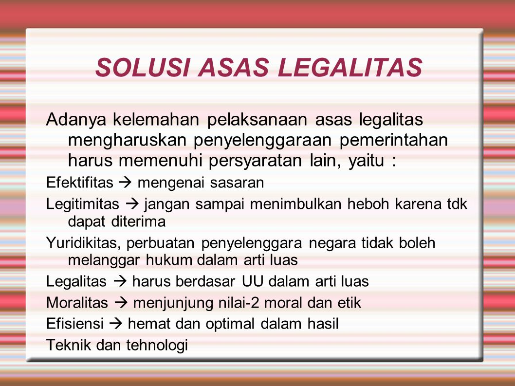 SOLUSI ASAS LEGALITAS