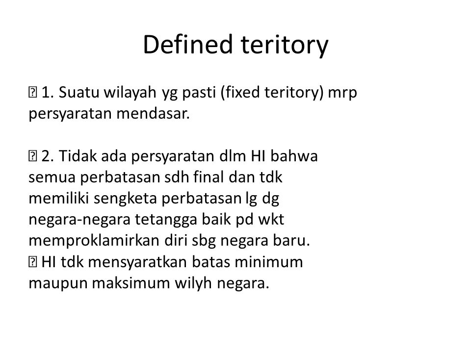 Defined teritory