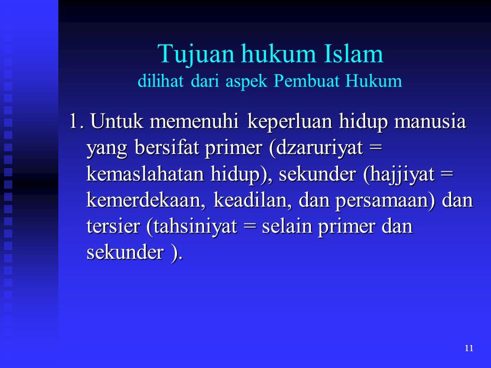 Tujuan hukum Islam dilihat dari aspek Pembuat Hukum