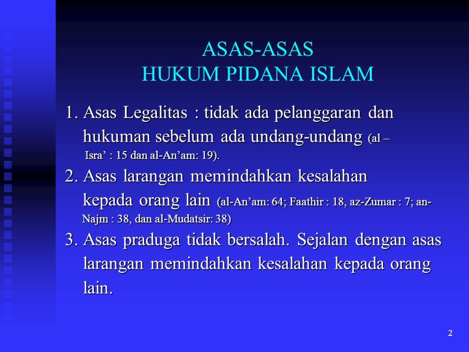 ASAS-ASAS HUKUM PIDANA ISLAM