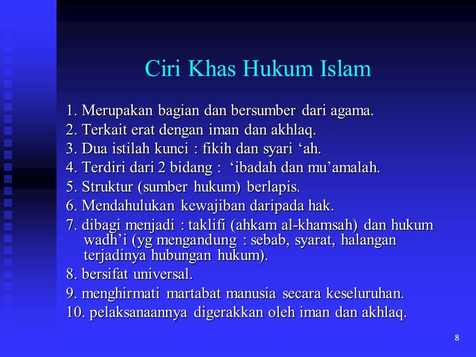 Ciri Khas Hukum Islam 1. Merupakan bagian dan bersumber dari agama.