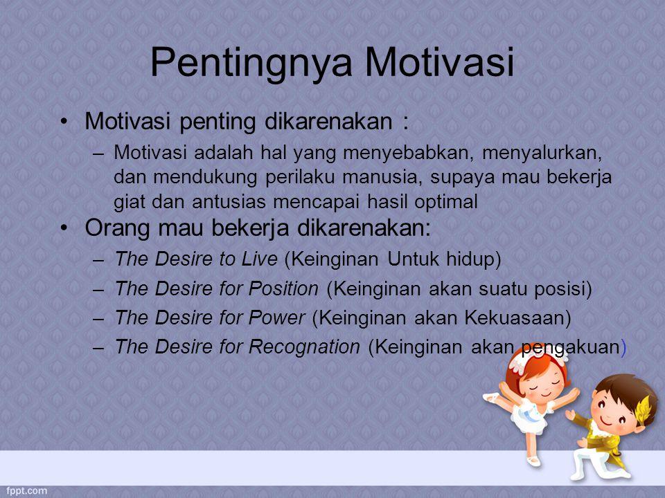 Pentingnya Motivasi Motivasi penting dikarenakan :