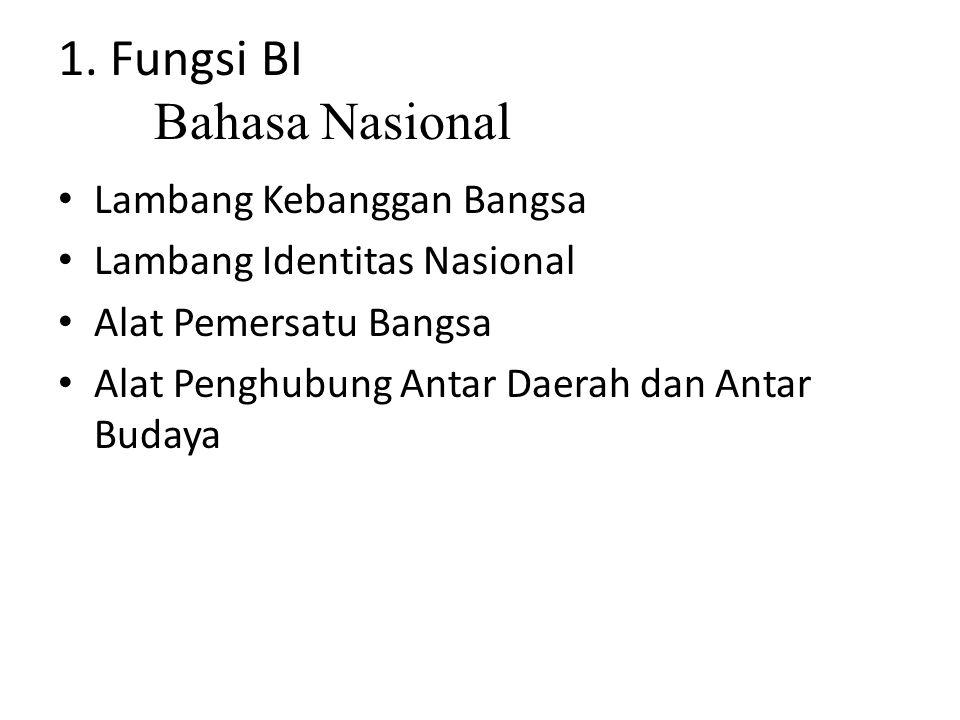 1. Fungsi BI Bahasa Nasional