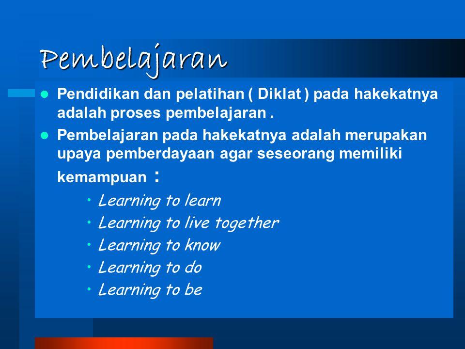 Pembelajaran Pendidikan dan pelatihan ( Diklat ) pada hakekatnya adalah proses pembelajaran .