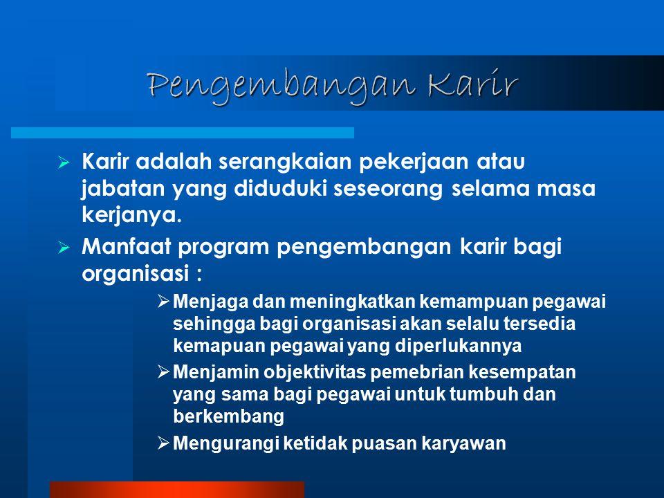 Pengembangan Karir Karir adalah serangkaian pekerjaan atau jabatan yang diduduki seseorang selama masa kerjanya.