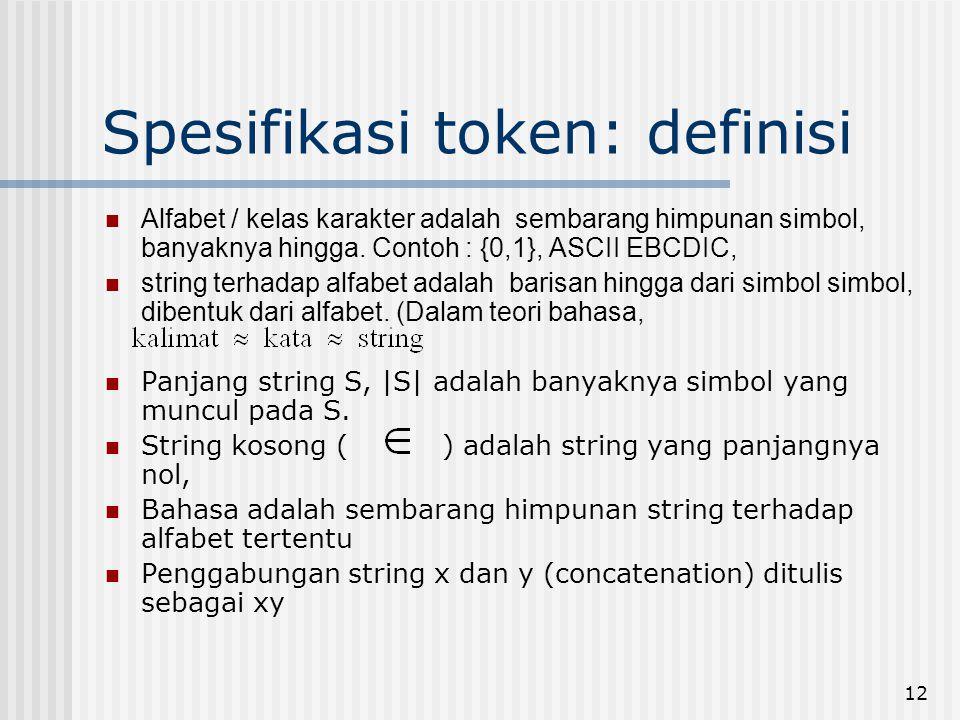 Spesifikasi token: definisi
