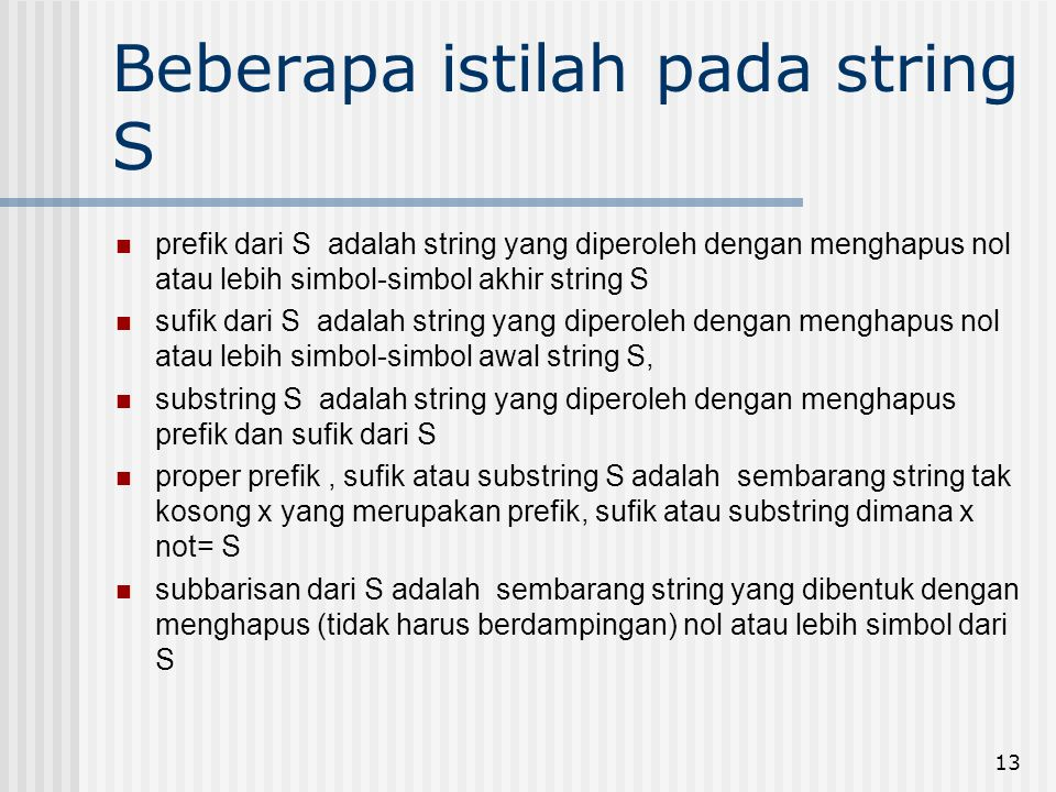 Beberapa istilah pada string S