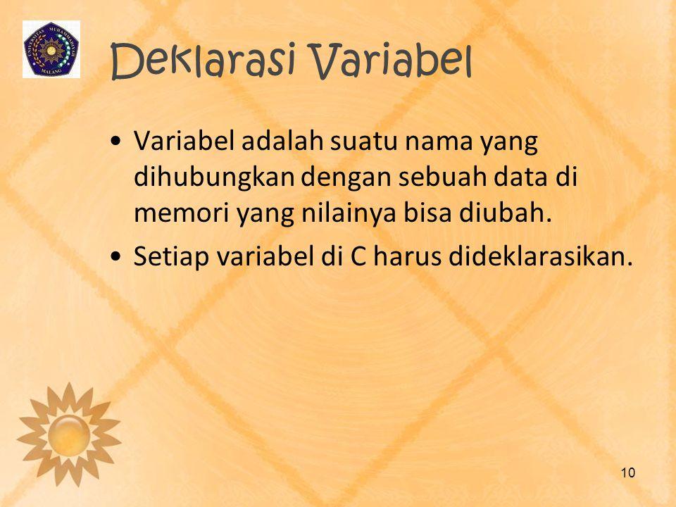 Deklarasi Variabel Variabel adalah suatu nama yang dihubungkan dengan sebuah data di memori yang nilainya bisa diubah.