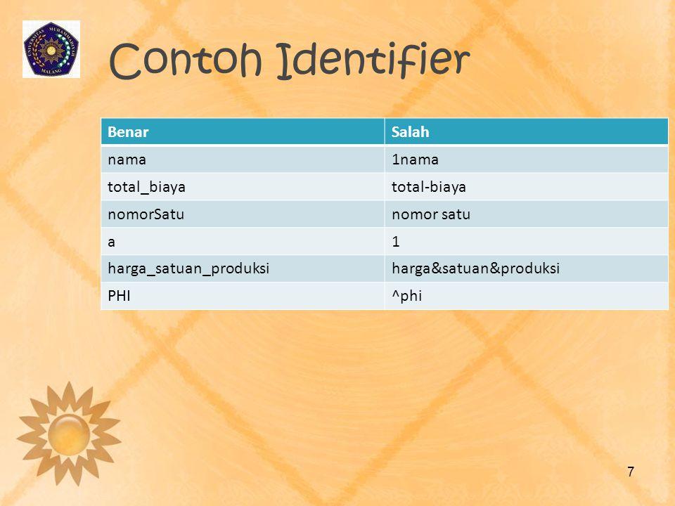 Contoh Identifier Benar Salah nama 1nama total_biaya total-biaya