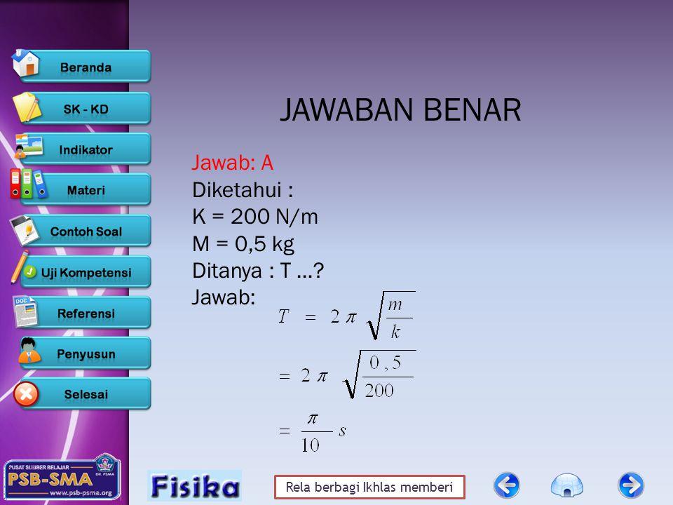 JAWABAN BENAR Jawab: A Diketahui : K = 200 N/m M = 0,5 kg