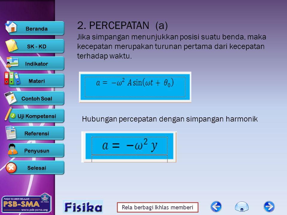 2. PERCEPATAN (a) Jika simpangan menunjukkan posisi suatu benda, maka kecepatan merupakan turunan pertama dari kecepatan terhadap waktu.