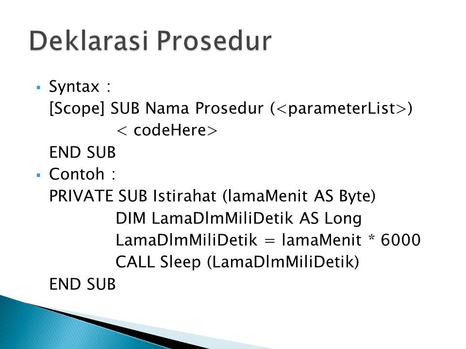 Deklarasi Prosedur Syntax :