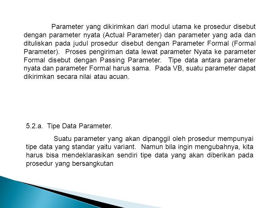 Parameter yang dikirimkan dari modul utama ke prosedur disebut dengan parameter nyata (Actual Parameter) dan parameter yang ada dan dituliskan pada judul prosedur disebut dengan Parameter Formal (Formal Parameter). Proses pengiriman data lewat parameter Nyata ke parameter Formal disebut dengan Passing Parameter. Tipe data antara parameter nyata dan parameter Formal harus sama. Pada VB, suatu parameter dapat dikirimkan secara nilai atau acuan.