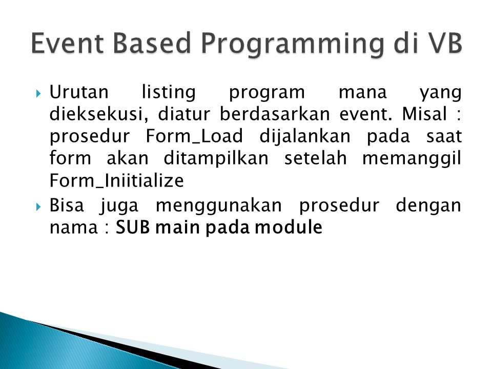 Event Based Programming di VB