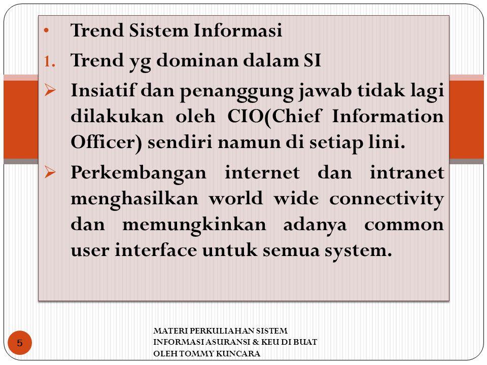 Trend Sistem Informasi Trend yg dominan dalam SI