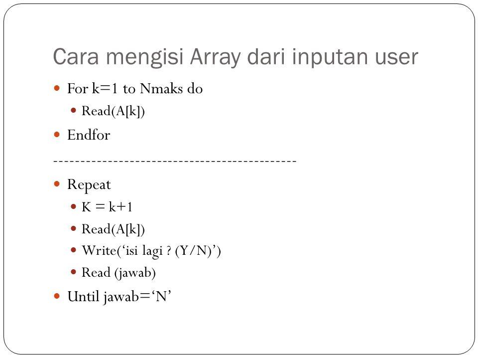 Cara mengisi Array dari inputan user