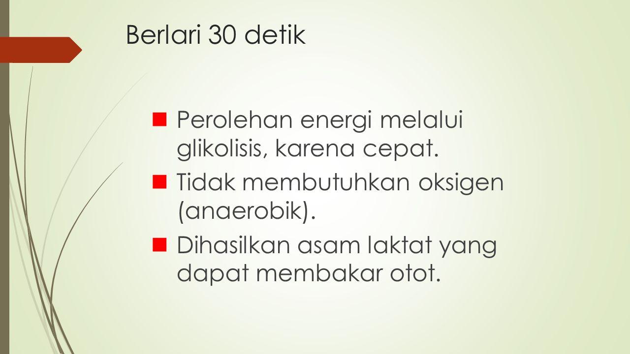 Berlari 30 detik Perolehan energi melalui glikolisis, karena cepat.