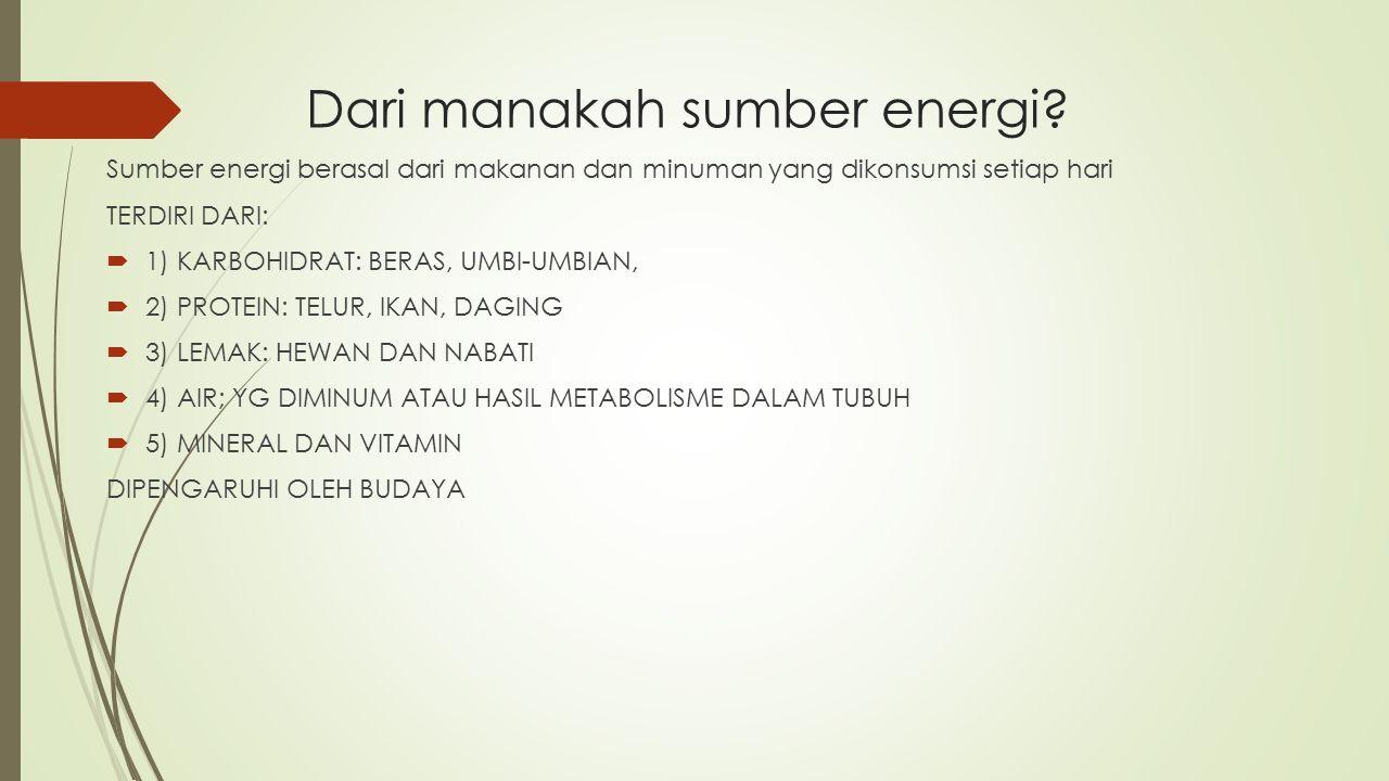 Dari manakah sumber energi