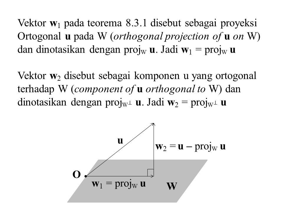 Vektor w1 pada teorema 8.3.1 disebut sebagai proyeksi