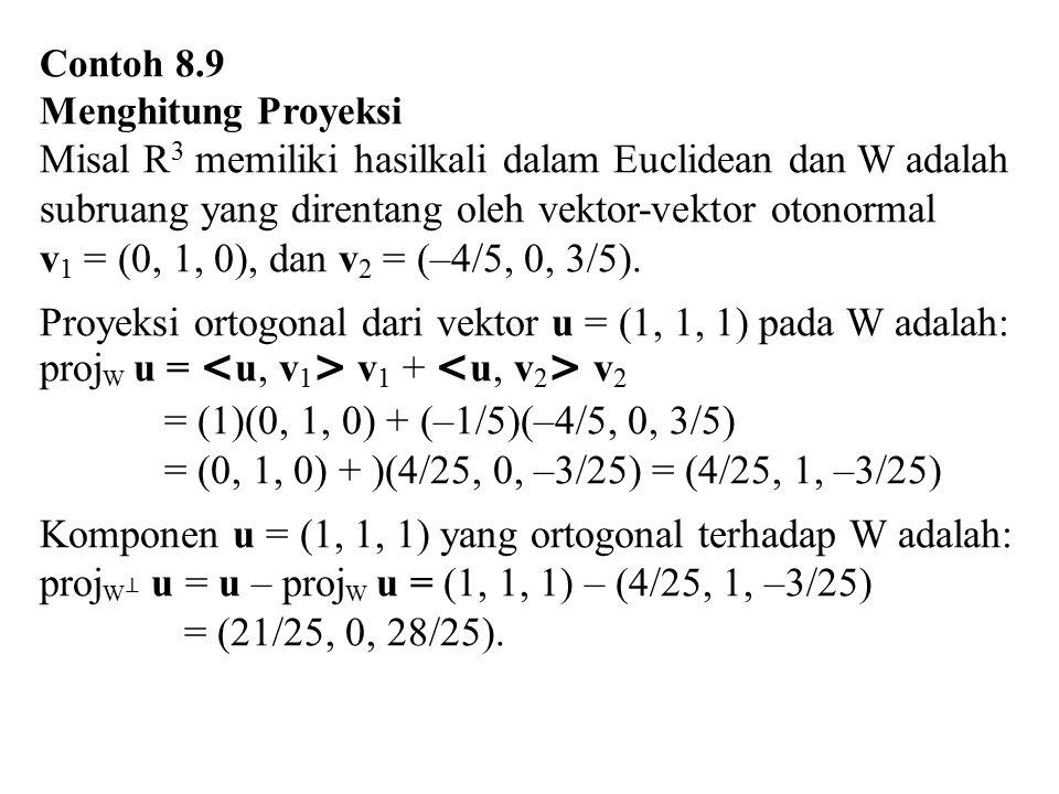Proyeksi ortogonal dari vektor u = (1, 1, 1) pada W adalah: