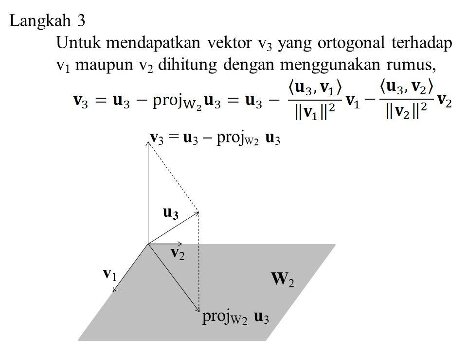 Langkah 3 Untuk mendapatkan vektor v3 yang ortogonal terhadap. v1 maupun v2 dihitung dengan menggunakan rumus,