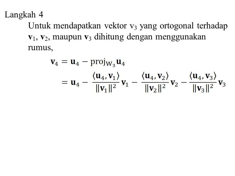 Langkah 4 Untuk mendapatkan vektor v3 yang ortogonal terhadap. v1, v2, maupun v3 dihitung dengan menggunakan.