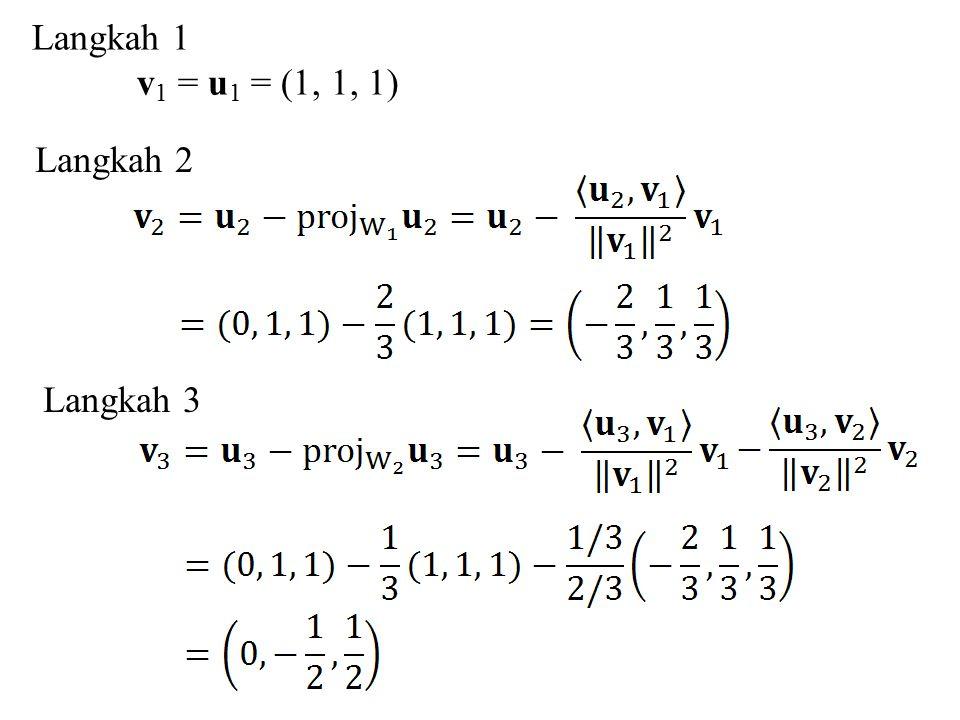 Langkah 1 v1 = u1 = (1, 1, 1) Langkah 2 Langkah 3